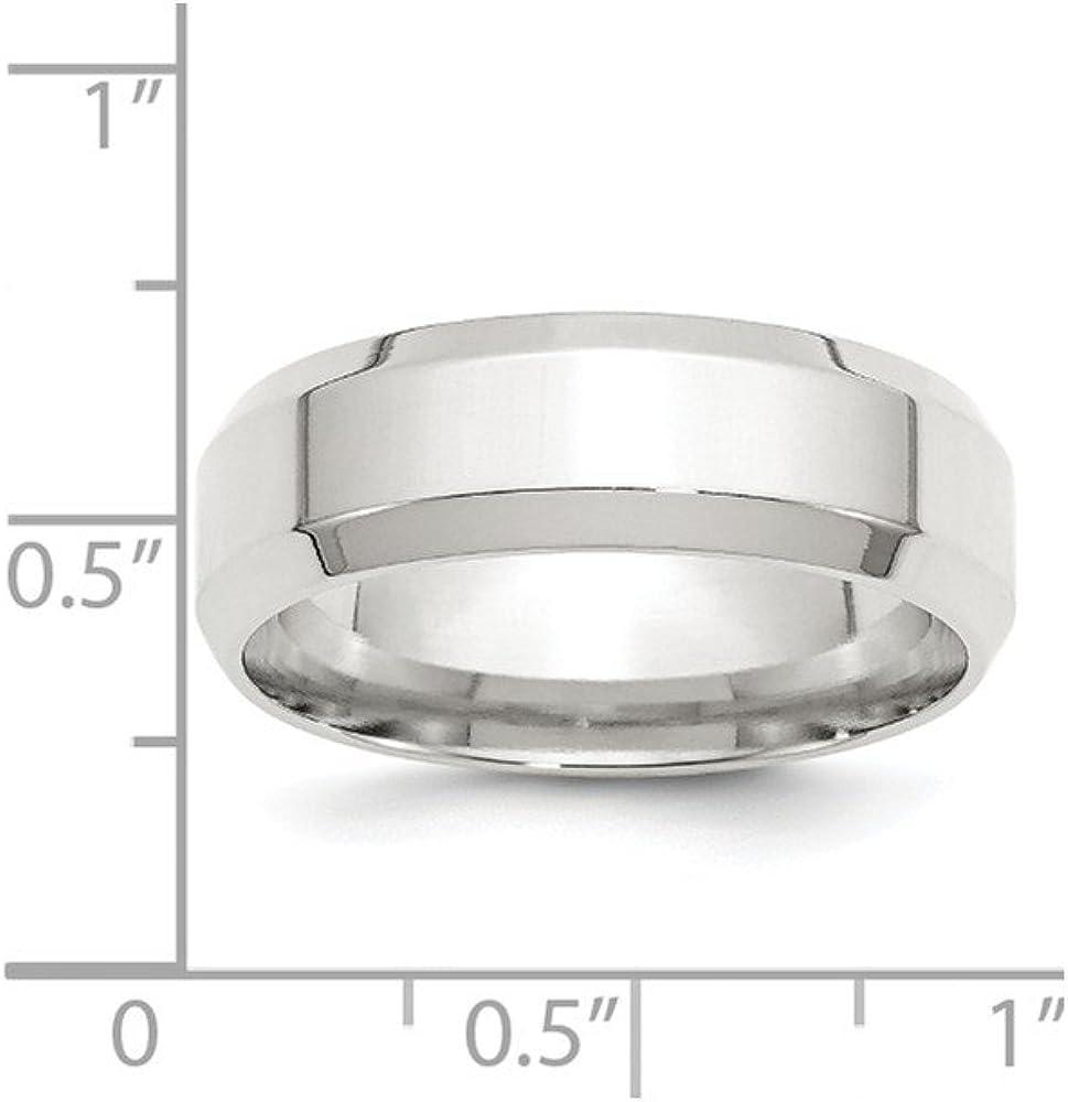 Wedding Bands Classic Bands Beveled Edge SS 7mm Bevel Edge Size 10 Band Size 7.5