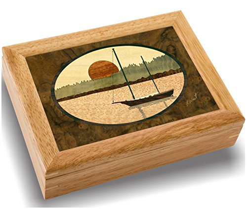 Wood Art Sailing Box - Handmade USA - Unmatched Quality - Unique, No Two are the Same - Original Work of Wood Art. A Sailboat Gift, Ring, Trinket or Wood Jewelry Box (#2129 Sailboat in Harbor 6x8x2)