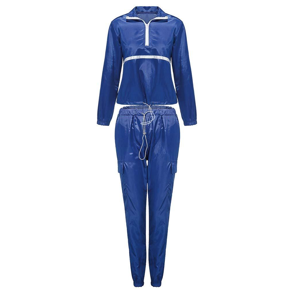 HHoo88 Women Stripe Stitching Reflective Sports Set Long Sleeve Zipper Crop Tops Pants Sweatshirts Outfits Tracksuit