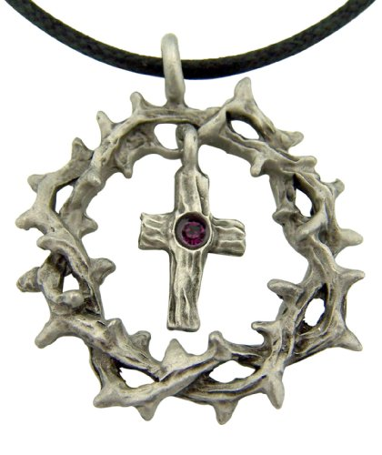 Religious Gift 1 1/4 Inch Pewter Crown of Thorns Pendant with Latin Cross Purple Crystal Center Medal with Adjustable Cord Chain Necklace