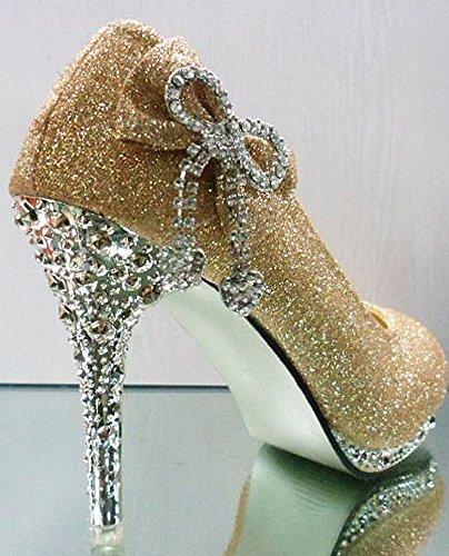 Getmorebeauty Womens Gold Bow Crystal Glitter Scarpe Da Sposa
