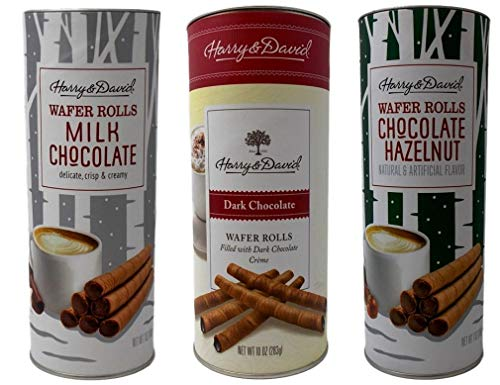 Harry & David Wafer Rolls Cookies 3 Flavor Variety Gift Bundle, (1) each: Chocolate Hazelnut, Dark Chocolate, Milk Chocolate (7-10 Ounces)