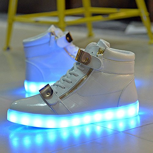 Zapatillas Baha Mut 8 Colores High Top Mujer Led Carga Usb Brillante Luz Hasta Luminoso Zapatillas Intermitentes Blanco