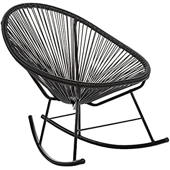 Charmant Design Tree Home Acapulco Indoor/Outdoor Rocking Chair, Black