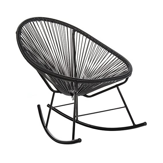 Acapulco Woven Basket Rocking Chair, Set of 2, Black - Set of 2 indoor/outdoor basket rocking chairs. Durable plastic cord weave cradles the body. Accent the chair with pillows or blankets. Black powder-coated rust-proof iron frame. - patio-furniture, patio-chairs, patio - 51ah6QM1qaL. SS570  -