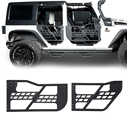 u-Box Jeep Wrangler Front & Rear Tubular Doors Off Road Textured Black for Jeep Wrangler JK Unlimited 4 Door ()