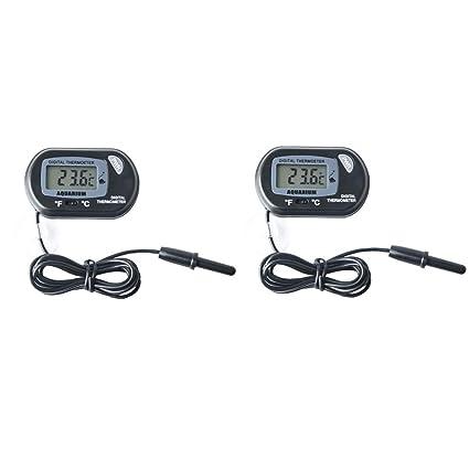 MarsAqua Pack of 2 LCD Digital Aquarium Thermometer Fish Tank Water Terrarium Temperature