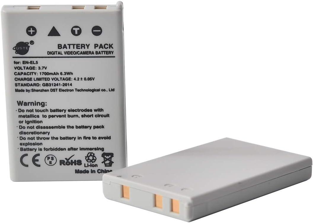 DSTE 2 Piezas de Recambio de bateria EN-EL5 Compatible con Nikon Coolpix P100 P500 P510 P520 P530 P5000 P5100 P6000 Coolpix S10