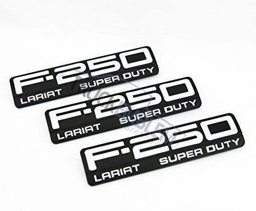 3 NEW SET CUSTOM MATTE BLACK & WHITE set of Ford F250 Super Duty LARIAT Side Fender Emblem ()