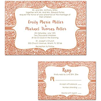 Amazoncom 100 Wedding Invitations Rose Gold Glitter Design