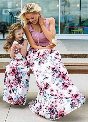 Jitong Abbigliamento Famiglia Senza Maniche Vestito a Fiori Maxi Vestiti Boemia Vestito Madre e Figlia Elegante
