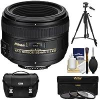 Nikon 50mm f/1.4G AF-S Nikkor Lens with Nikon Case + 3 UV/CPL/ND8 Filters + Tripod Kit for D3200, D3300, D5300, D5500, D7100, D7200, D750, D810 Camera