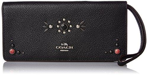 COACH Women's Western Rivets Slim Wallet SV/Black Wallets by Coach