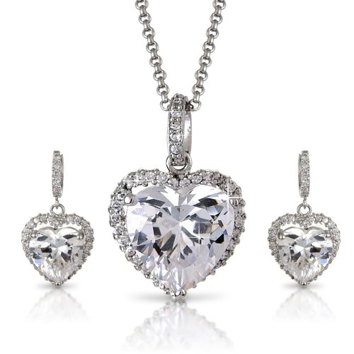 Bridal Evening Wear - White 14K Silver Tone Crystals Pave Heart Necklace Earrings Set ()