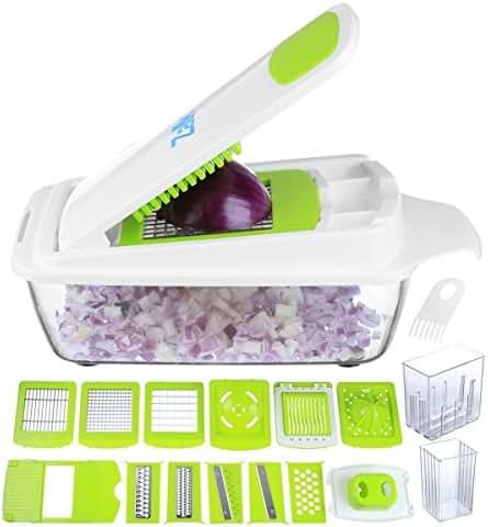 Vegetable Chopper Pro Onion Chopper - Mandoline Slicer Dicer Cutter & Grater - Strongest & 30% Heavier Duty - 11 Blade Food Chopper Slicer Dicer - Fruit and Cheese Cutter, Veggie Chopper by Zalik
