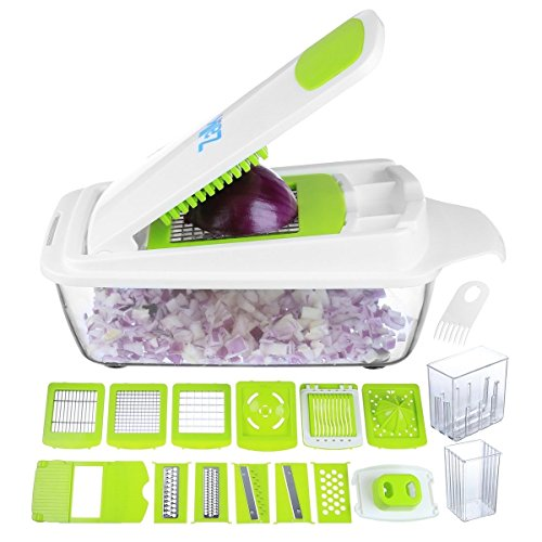 per Slicer Dicer Cutter & Grater - 11 Interchangeable Stainless Steel Blades - Heavy Duty Multi Fruit Cheese & Onion Chopper Dicer Kitchen Cutter (Slicer Grater)
