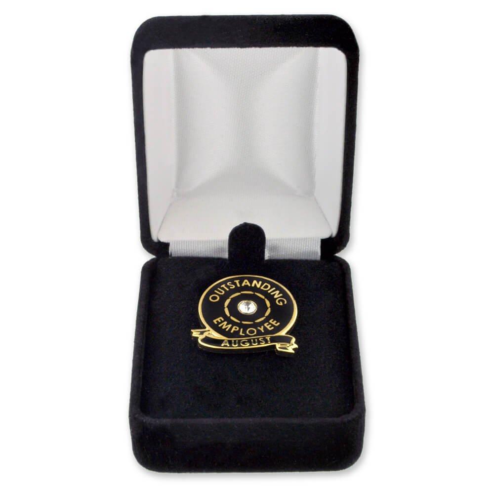 50 Pack- PinMart's Velour Jewelry Lapel Pin Gift Box - Black