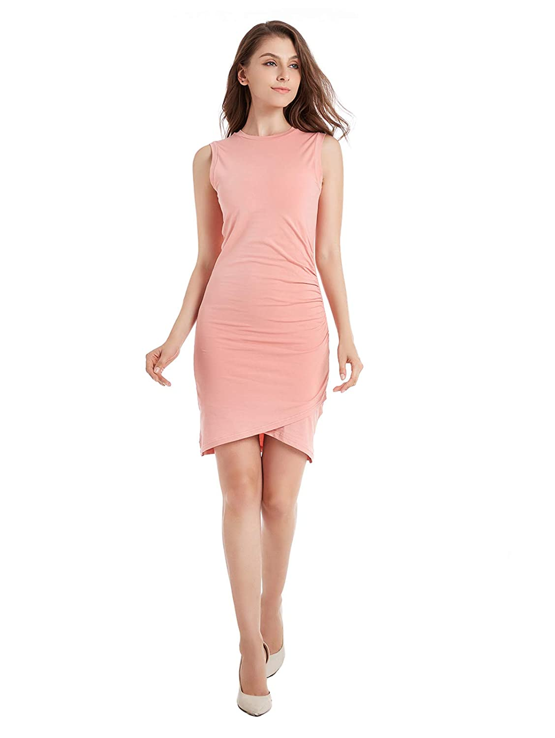 ZURIFFE Women s Summer Sleeveless Ruched Jersey Bodycon Tulip Midi Tank  Sheath Dress at Amazon Women s Clothing store  f1fbce5d6
