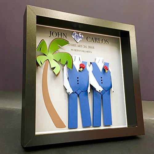 Personalized Gay Same Sex LGBT Destination Wedding, Engagement, First Anniversary Paper Origami Groom & Groom Shadowbox Frame Custom Gift