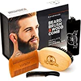 FLASH SALE! Beard Brush and 2 Combs Kit for Men Grooming – Natural Beard Brush Set Made Exclusively of Wood and Genuine Boar Bristles for Proper Beard Care