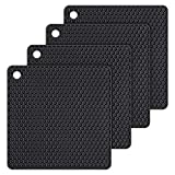 Silicone Trivet Mats Hot Potholders - Hot Pads Durable Non Slip Coasters Heat Resistant Mats (Black)