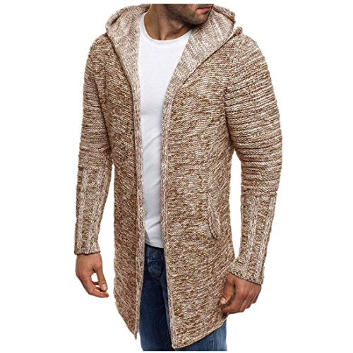 (vermers Men Coat Clothes Men's Hooded Solid Knit Trench Coat Jacket Cardigan Long Sleeve Outwear(M, Khaki))
