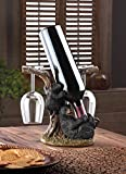 Eastwind Gifts 10016201 Black Bear Wine Bottle And Glass Holder