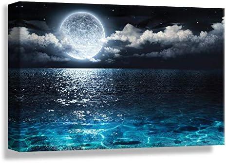 NWT Canvas Wall Art Blue Ocean Under Moonlight Calmful Heart Painting Artwork