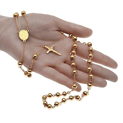 ba9be59ff68a Buena Beydodo Colgante Collar Chapado en Oro Hombre Collar de Hombre Collar  Cadena Bolas Colgante Cruz
