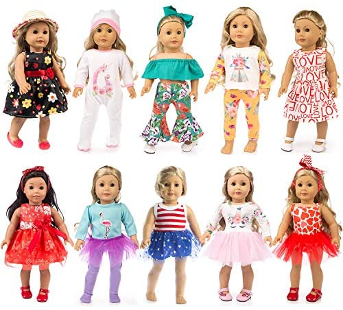 ZQDOLL 19 pcs Girl Doll Clothes Gift for American 18 inch Doll Clothes and Accessories, Including 10 Complete Sets of Clothing