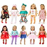 Toys : ZQDOLL 19 pcs Girl Doll Clothes Gift for American 18 inch Doll Clothes and Accessories, Including 10 Complete Sets of Clothing