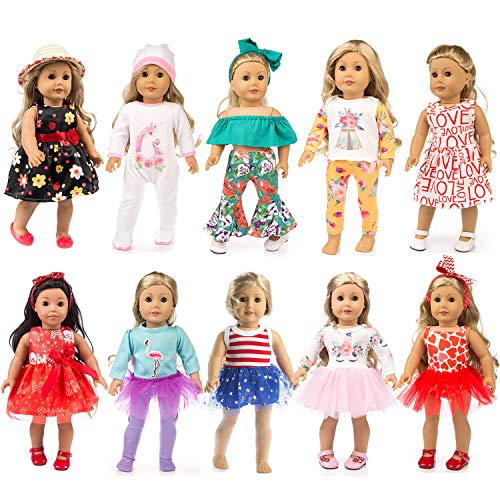 ZQDOLL 19 pcs Girl Doll Clothes Gift for 18-inch Doll Clothes and Accessories, Including 10 Complete Sets of Clothing