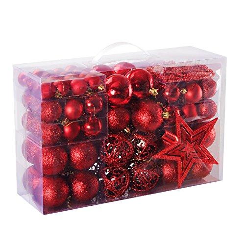 Yorbay Weihnachtskugeln Christbaumkugeln Set inklusive Perlenkette und Baumspitze in verschiedenen Farben (Rot)