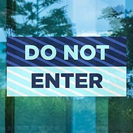 Stripes Blue Window Cling Do Not Enter CGSignLab 5-Pack 24x12