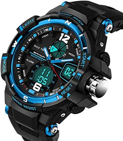 Digital Analog Waterproof Shockproof Outdoor Sports Stopwatch Watches For Running Hinking Black+Blue