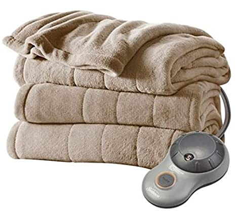 Heated Blanket Sunbeam Microplush Heated Blanket Ultra Soft Imperial Plush TWIN Mushroom (Beige)