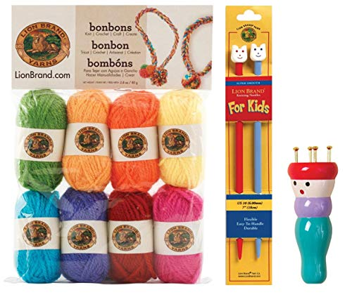 - Kids Knitting Kit Bundle: 1 Pair Lion Brand Knitting Needles for Kids, 8 Lion Brand Bonbons Yarn, 1 Lion Brand Knitting Spool French Knitter