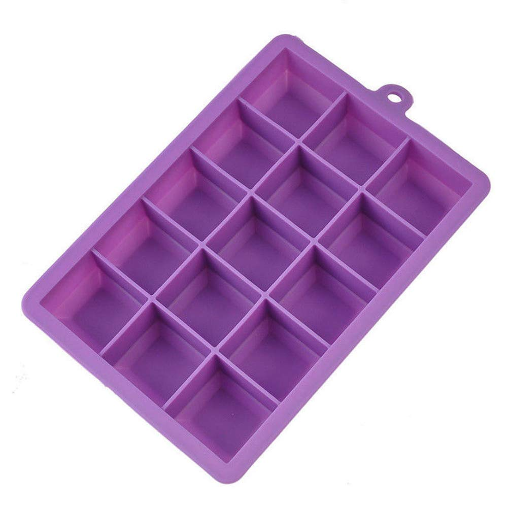 Braceus Silicone Large Ice Cube Mold 15-Grid Mould Tray Maker Rectangle Kitchen Bar Tool Purple