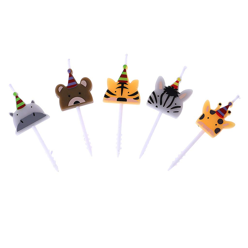BASSK Juego de 5 Velas con Forma de Zoo para Fiestas de cumplea/ños con Animales de Carnaval