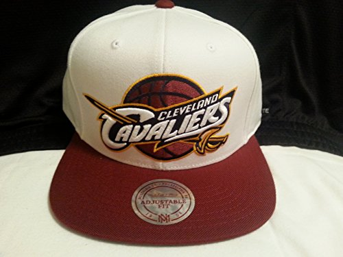 New! NBA White Cleveland Cavaliers Flat bill snap back cap by Mitchell & Ness