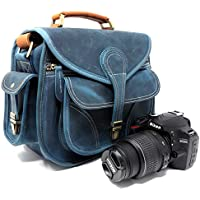 Purple Relic: Vintage Leather Camera Bag; Crossbody; Fits Compact DSLR with Lens for Nikon D3200, Canon 1200D, Sony A7;