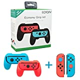Nintendo Switch Joy Con Grip Controller Kit with Thumbstick Caps 2-Pack, Wear resistant Joy Con Handle Grips Accessory Kit for Nintendo Switch (Red and Blue)