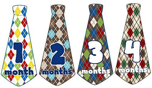 Monatsaufkleber für Babys, Monatskrawatte, für Jungen, Krawatten, Monatsaufkleber, Argyle-Diamant-Plaid