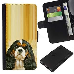 Cavalier King Charles Spaniel Puppy - la tarjeta de Crédito Slots PU Funda de cuero Monedero caso cubierta de piel Sony Xperia Z4v / Sony Xperia Z4 / E6508