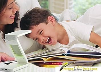Lampe de bureau pliable avec date heure et réveil amazon