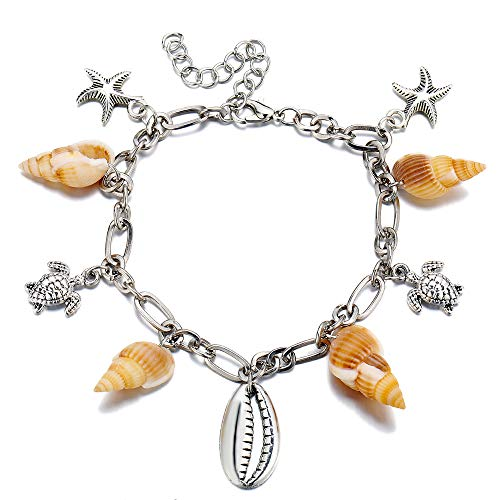 TOMLEE Natural Conch Alloy Shell Turtle Starfish Charm Anklet Adjustable Foot Chain Ankle Bracelet Sea Beach Summer Jewelry ()