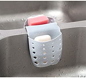 Grocery House Sponge Sink Holder, Hanging Silicone Kitchen Gadget Storage Organizer, BasketsDrain Bag (Gray)
