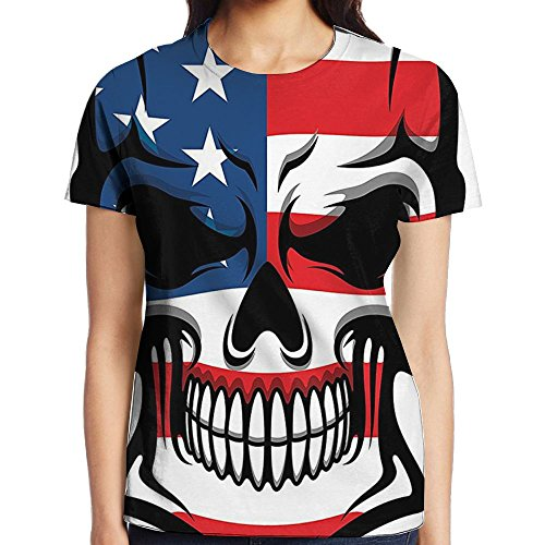 WuLion Scary Skull with American Flag Dead Native of The Country States Evil Women's 3D Print T Shirt XL White