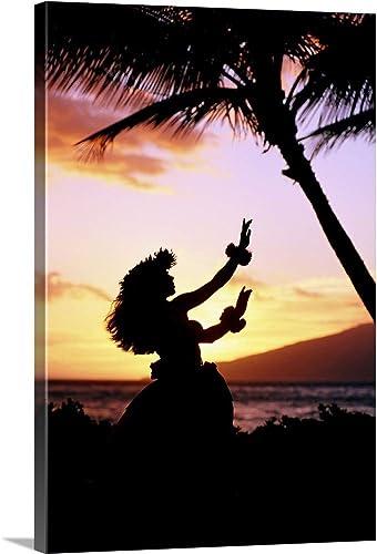 Hawaiian Islands Hula Dancer Canvas Wall Art Print