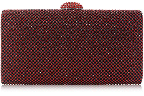 (Dexmay Large Rhinestone Crystal Clutch Evening Bag Women Clutch Purse for Cocktail Prom Party Siam Red)